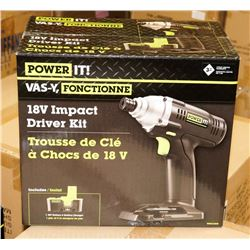 CASE OF 2 NEW POWER IT 18 VOLT IMPACT DRIVER KITS