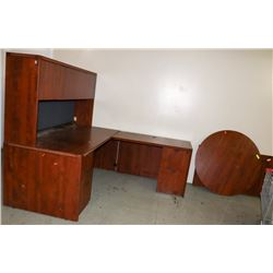 CORNER OFFICE DESK SOLD WITH COMMERCIAL TABLE