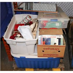 PALLET OF ASSORTED RECORDS AND CHRISTMAS ITEMS IN