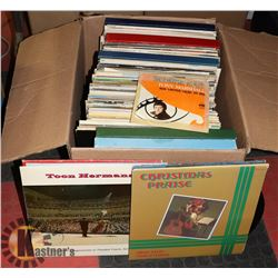 BOX OF 80+ ASSORTED RECORDS.