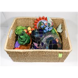 WICKER BASKET WITH ASSORTED ORNAMENTS