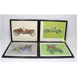 LOT OF 4 FRAMED ANTIQUE VEHICLE PICTURES