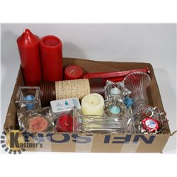 BOX OF PARTYLITE CANDLE HOLDERS AND WAX.