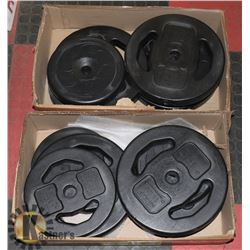 2 BOXES OF ASSORTED WEIGHTLIFTING WEIGHTS