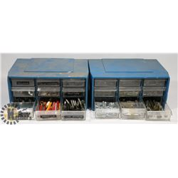 BOX OF 2 BOLT BINS WITH CONTENTS.