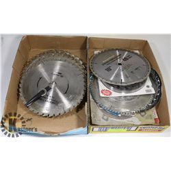 2 FLATS OF NEW & USED SAW BLADES IN VARIOUS SIZES.