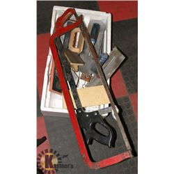 BOX WITH ASSORTED TROWELS & MEAT SAWS.
