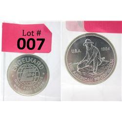 1 Oz Engelhard .999 Fine Silver 2-Sided 1984 Round