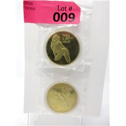 Two 1 Oz. Gold Clad Nude Art Rounds In Capsules