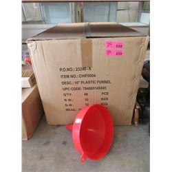 """24 New 10"""" Plastic Funnels"""
