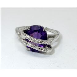 Amethyst & Diamond Crossover Design Ring