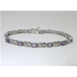 6.02 CT Amethyst & Diamond Infinity Bracelet