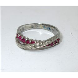 Ruby & Diamond Sterling Silver Ring