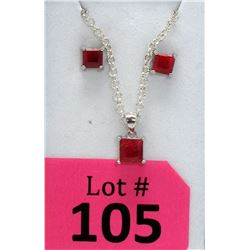 New Matching Sterling Silver 2-Piece Ruby Set