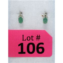 New Diamond & Emerald Sterling Silver Earrings