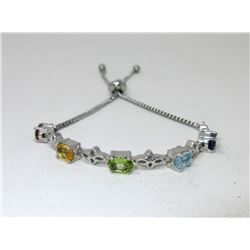 Ladies Multi Gemstone Tennis Bracelet