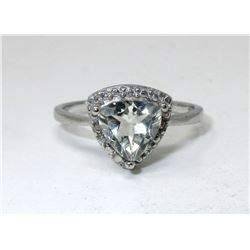 Green Amethyst & Diamond Trillion Cut Ring