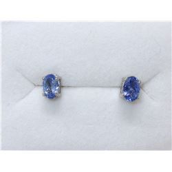 New Sterling Silver Tanzanite Stud Earrings