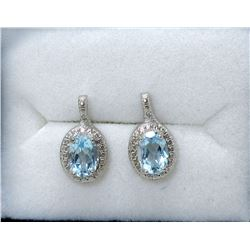 New Blue Topaz & Diamond Earrings