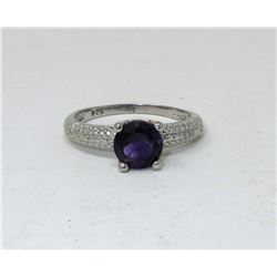 Amethyst & Diamond Sterling Silver Solitaire Ring