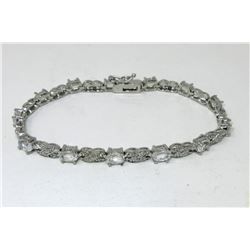 White Topaz & Diamond Figure 8 Tennis Bracelet