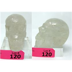2518 CT Fist Size 3D Carved Clear Quartz Skull