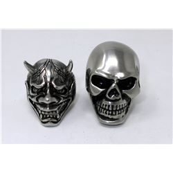 2 Brand New Men's Skull Biker Rings