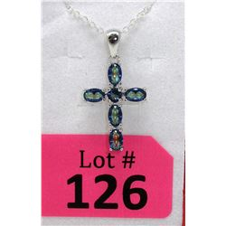 Ocean Blue Mystic Topaz Cross Pendant & Chain