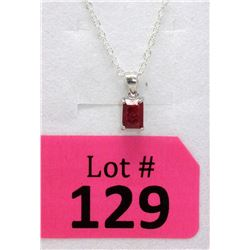 Sterling Silver Emerald Cut Ruby Pendant