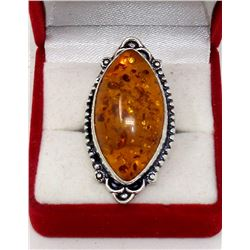 Large Marquis Orange Baltic Amber Ring