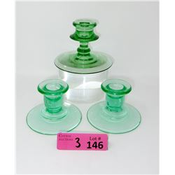 3 Vintage Uranium Glass Candle Holders