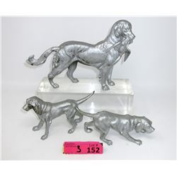 Three 1950's Cast Iron Hunting Dog Figurines