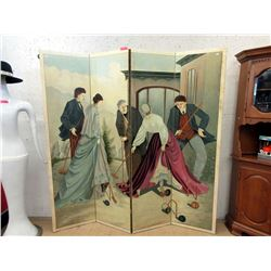Painted Wood Folding Screen - 6 feet x 6 feet