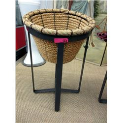 Sisal Rope Basket on Metal Stand