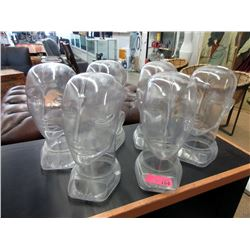6 Clear Plastic Display Heads