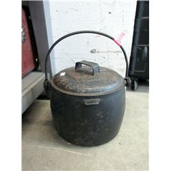 Vintage Cast Iron Cook Pot with Metal Lid
