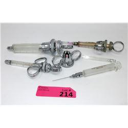 4 Vintage Glass Syringes