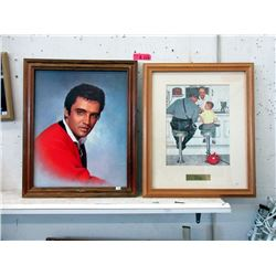 Framed Elvis Poster and Norman Rockwell Print