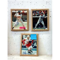 """3 Autographed 8 x 10"""" Sports Legends Photographs"""