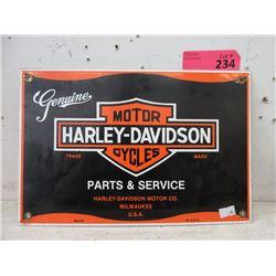 New Harley Davidson Enameled Steel Sign