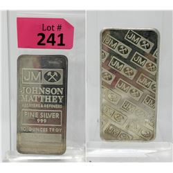 10Oz Johnson Matthey.999 SilverBar