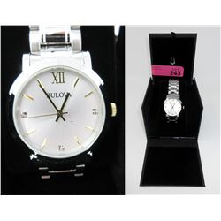 New In Box Bulova Mans Watch set with 3 Diamonds