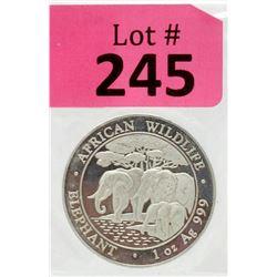 1 Oz Somalia African Elephant .999Silver Coin