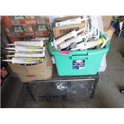 Metal Storage Box and 2 Containers of Grout