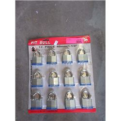 "12 New 1 1/2"" Laminated Padlocks - Identical Keys"