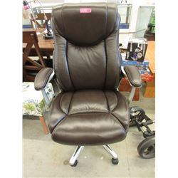 Brown Leather Swivel Office Chair