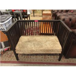 Vintage Wood Settee with Upholstered Seat