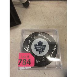 Autographed Johnny Bower Hockey Puck