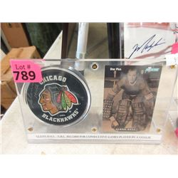 Glenn Hall Autographed Puck with Hockey Card