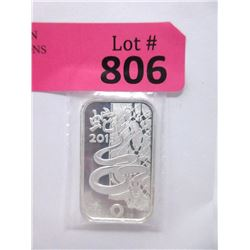 1 Oz. .999 Fine Silver 2013 Year of the Snake Bar